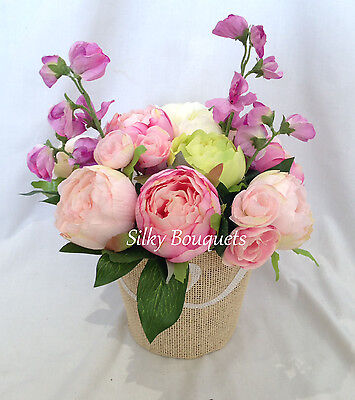 Artificial Peony Silk Flower Gift Decoration Vintage Flowers Sweetpea