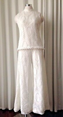 Vintage 1970s Saks Fifth Avenue White Lace Embroidered 2-Pc Pants Set Size 12