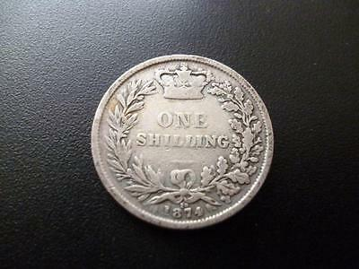 1874 Queen Victoria Young Head Silver Shilling In Good Condition. 1874 Shilling