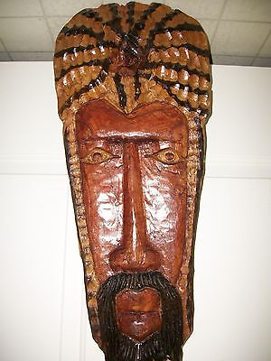 Ornately Carved & Painted Wooden Cultural Art Mask Wall Hanging