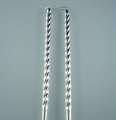 Collection 925 sterling silver Fried Dough Twists Chinese chopsticks 1pair 22g