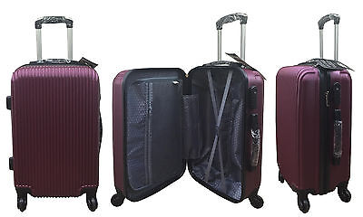 "20"" 24"" 28"" Hard Shell Suitcase Set 4 Wheel Luggage Spinner Lightweight - MAROON"