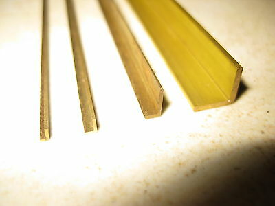 L profile milled brass section for model making in 25 metric sizes, 330mm long