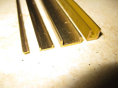 U & C profile milled brass section for model making in 36 sizes, 330mm long