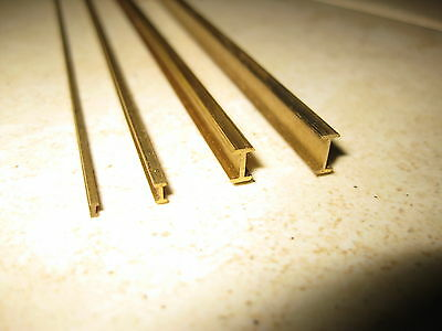 I beam profile milled brass section for model making in 26 sizes, 330mm long