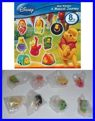 TOMY SET 8 Figure WINNIE POOH MUSICAL Mini Winnies Peek-A-Pooh RARE Danglers NEW
