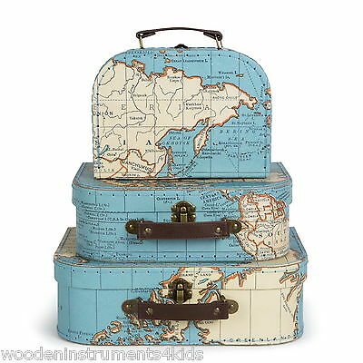 Small suitcase vintage map design storage case carry case wedding favour box