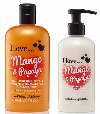 I Love… Mango & Papaya Shower Creme 500ml & Body Lotion 250ml Duo