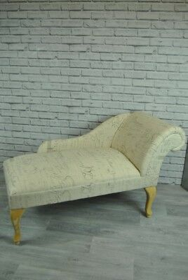 Cream and French Grey Script Small Chaise Lounge Window Seat