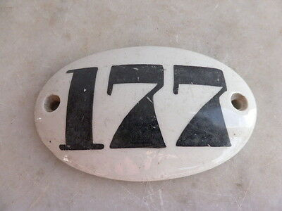Antique Victorian ceramic door number plaque - 177