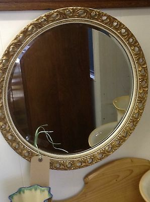 ***MIRROR SALE*** Vintage French Circular Edge Wall Mirror With Gilt Frame