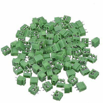 PCB Mount Screw Terminal Block Connector, 100 Pack (2 Pole 5 mm Pitch, 10A 300V)