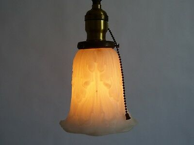 Brass Pendant Light w/ Cast Glass Acanthus Leaf Shade P&S Pull Chain Socket