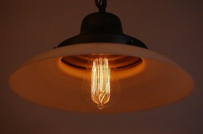 Domed Milk Glass & Steel Pendant Light Ceramic Socket & Canopy Switch Industrial