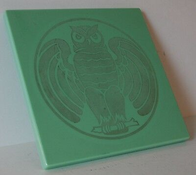c. 1920's 1930's Vitrolite Building Tile Or Table Top Art Deco Etched Owl Design