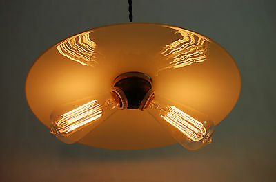 Industrial Pendant Light Large Flat White Glass Reflector Shade & Cluster Socket