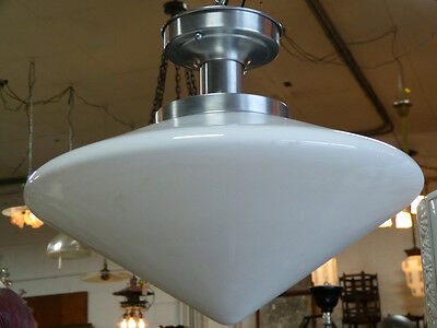 Art Deco Flush Mount Light Fixture Conical Shade Brushed Schoolhouse DIner