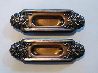 NOS Set of 2 Oxidized Copper Sash Lifts Stamped Steel Architectural Antique