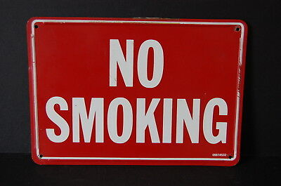 Industrial Antique Embossed No Smoking Sign Red White