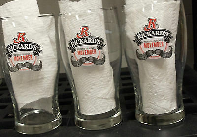 3 Rickard's Beer Glasses Movember 2 Glasses have the same moustache 6.25""