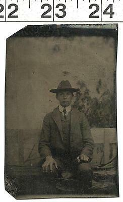 Vintage Tin Type Photo Of Handsome Well Dressed Young Man In Hat & Suit #2889