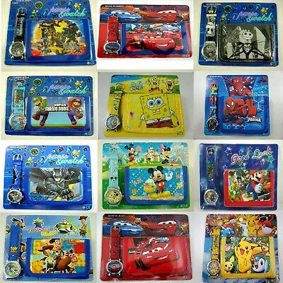 Kids Childrens Boys Girls cartoon character Watch And Wallet Coin Purse + Gift