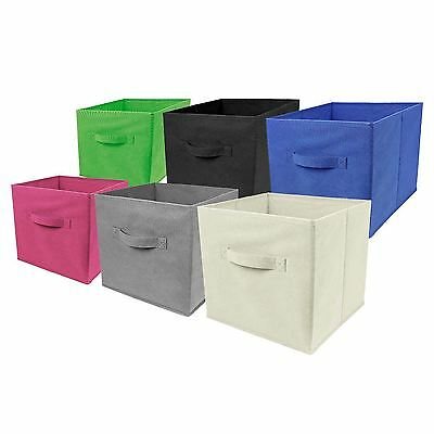 6 x LARGE SQUARE CANVAS FOLDABLE STORAGE BOX COLLAPSIBLE FABRIC CUBES HOME KIDS