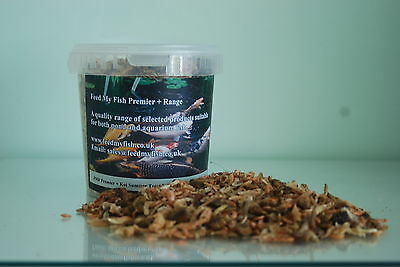 Koi Fish Food Shrimp, Silkworm,  Mealworm Treat Mix, 1180 ml  Tub approx 220g