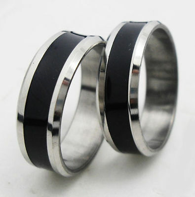 USA 2pcs Black & Silver Stainless Steel Ring Promise Engagement Couple Ring Ret