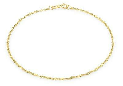 "9ct Yellow Gold 16 Twist Curb Chain Bracelet 23cm/9"" Thin Womens Anklet Gift"