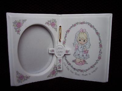 """Precious Moments  """"Jesus Loves Me"""" Frame w/ Cross Baptism First Communion"""