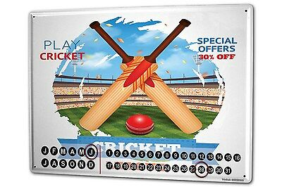 Dauer Wand Kalender Retro Cricket Metall Magnet