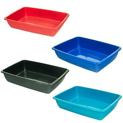 2 x LARGE PET LITTER TRAY PLASTIC CAT KITTEN DOG ANIMAL TOILET TRAY