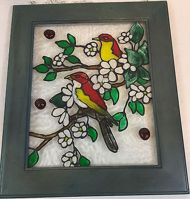 framed Stained Glass Birds on a tree with flowers and fruit