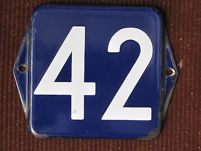 vintage  enamel porcelain number street house door gate sign # 42