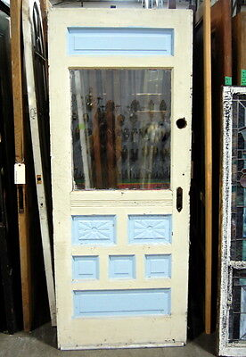 Antique 1890s Half Light Pine Cottage Door with Starburst Pattern, Exterior Door