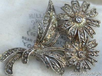 Lovely Vintage 60/70's Silver Tone Marcasite Daisy Flower Brooch