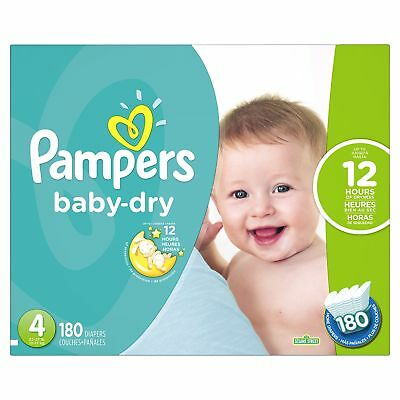 Pampers Baby Dry Diapers Economy Pack Plus Size 4 180 Count New