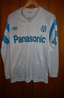 Olympique Marseille France 1990/1991 Home Football Shirt Jersey Adidas Vintage