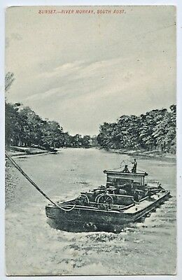 C1908 PT NPU SANDS & McDOUGALL POSTCARD BARGE BEING TOWED RIVER MURRAY SA W62.