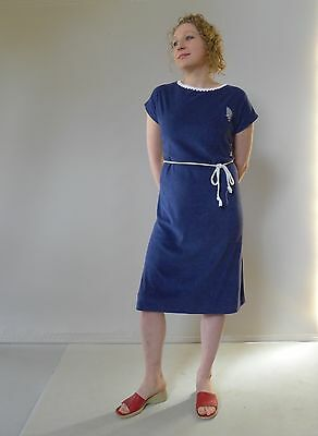 Vintage retro true unused 70s 14 - 16 L  blue terry stretch summer dress