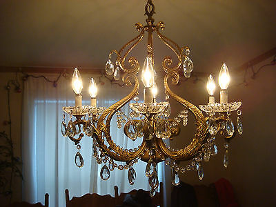 Large Brass & Crystal Chandelier c1950 Vintage Antique Italian French Style