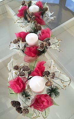 Set Of 3 Artificial Xmas Rose Holy Candle Holders Wreath Christmast Centrepiece