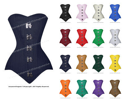 26 Double Steel Boned Waist Training Cotton Long Line Overbust Corset 8555-MC-TC