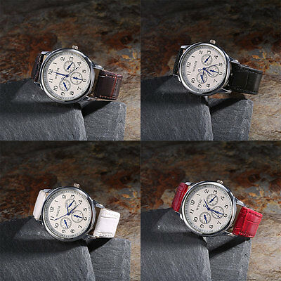 WECIN Special Men Women Three Eyes Design Leather Strap Quartz Wrist Watch AU