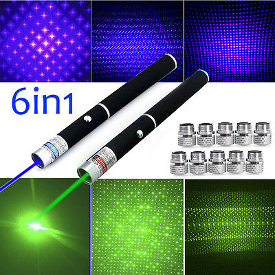 Military 10Miles 5mw 6in1 Green+Blue Laser Pointer Pen Powerful Beam Light Lazer