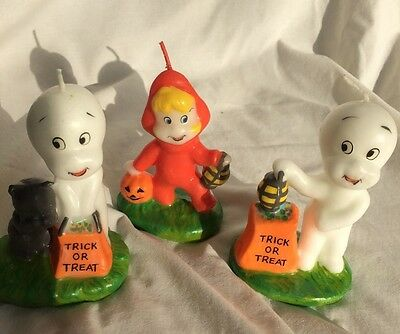 Set of 3 Vintage Casper the Friendly Ghost Candle Collection 1986 Harvey