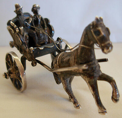 Antique Miniature Dutch   Silver Carriage Coach W/ Horse & Riders Moving Wheels