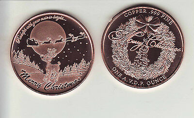 REINDEER  1 oz. Copper Round Christmas Coin from Set #2