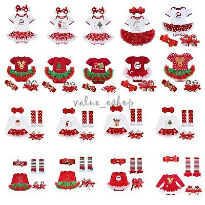 4PCS Newborn Baby Infant Girls Christmas Romper Headband Tutu Dress Outfit 0-12M